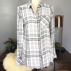 WHBM Plaid flannel button down pocket shirt 2